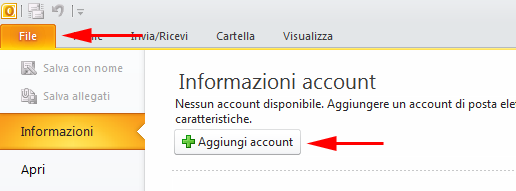 Outlook 2010 Nuovo Account
