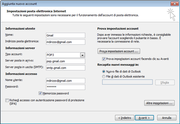Outlook 2010 Impostazioni POP3