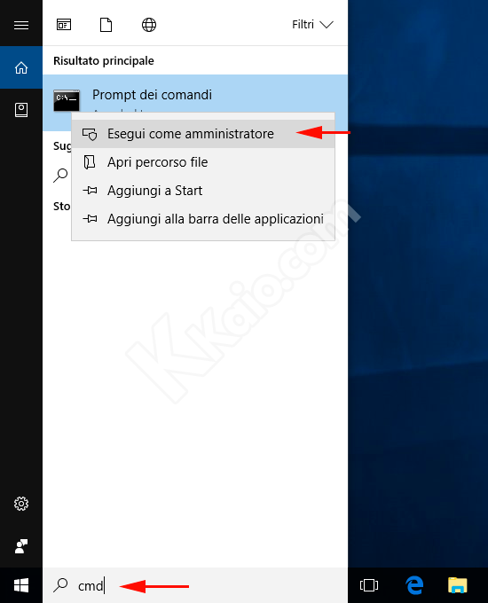 Prompt dei comandi DOS Amministratore Windows 10