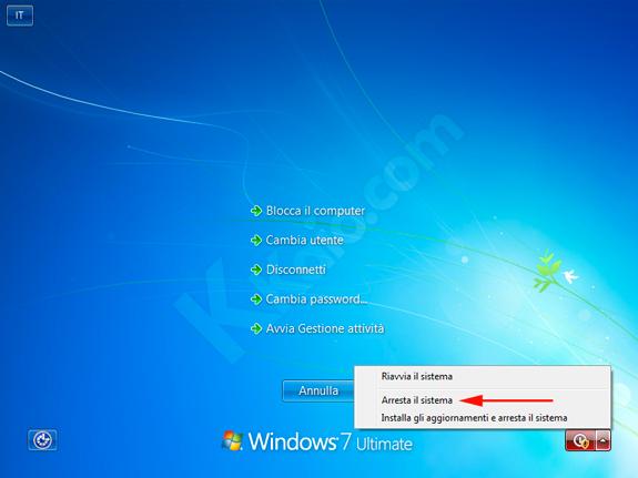Arrestare il sistema senza installare gli aggiornamenti