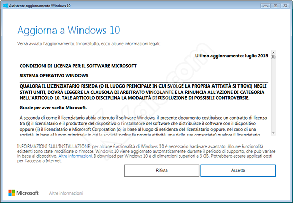 Assistente aggiornamento Windows 10