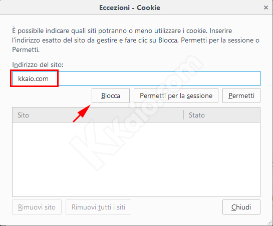 Blocco cookie con Firefox