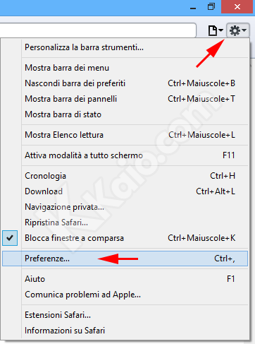 Menu di Apple Safari per Windows