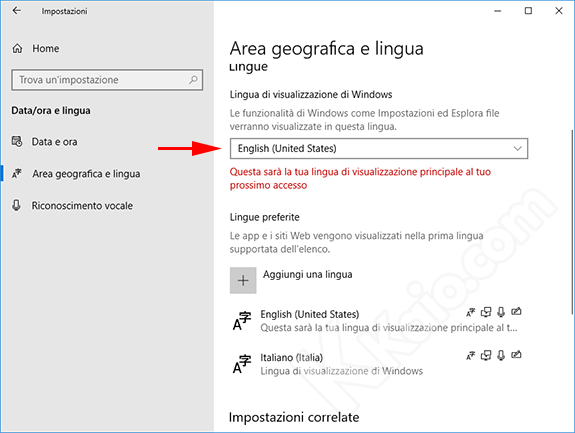 Impostare lingua predefinita Windows 10