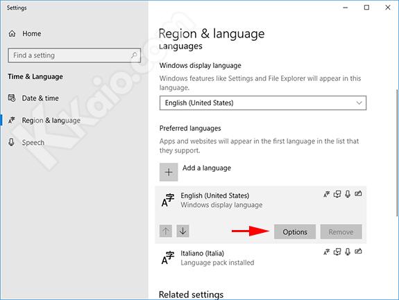 Opzioni lingua Windows 10