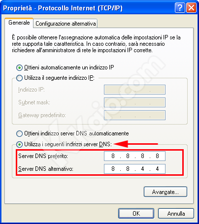Cambiare Server DNS in Windows XP