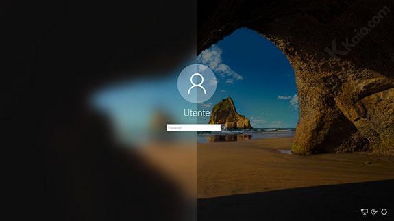 Disabilitare sfocatura schermata accesso windows 10