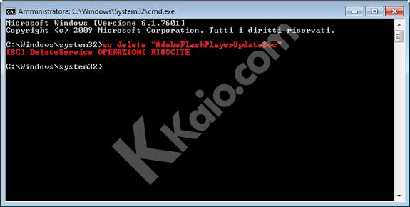Comando per eliminare servizio di Windows da prompt dei comandi