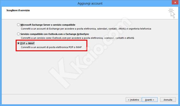 Outlook 2013 - impostazioni nuovo account