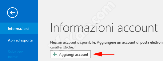 Outlook 2016 Nuovo Account