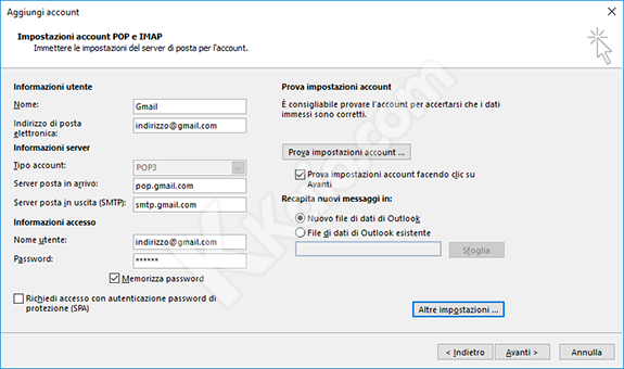 Outlook 2016 - Impostazioni POP3 Gmail