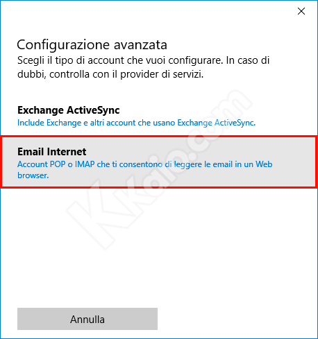 Configurazione Gmail POP3 nell'app Posta di Windows 10
