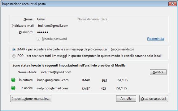 Mozilla Thunderbird - nuovo account