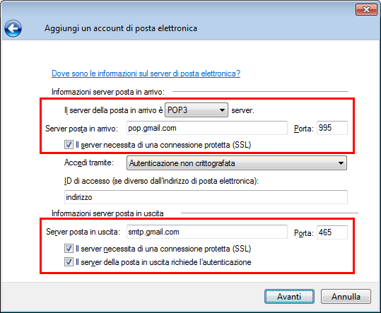 Windows Live Mail Nuovo Account