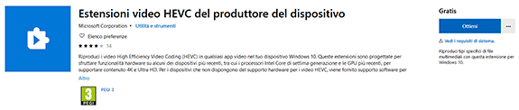Estensione HEIC in Windows Store