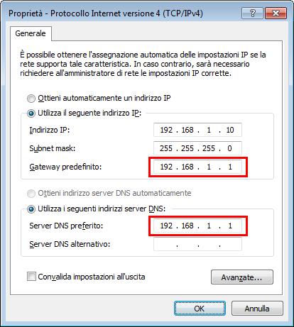 Indirizzo IP Windows 7