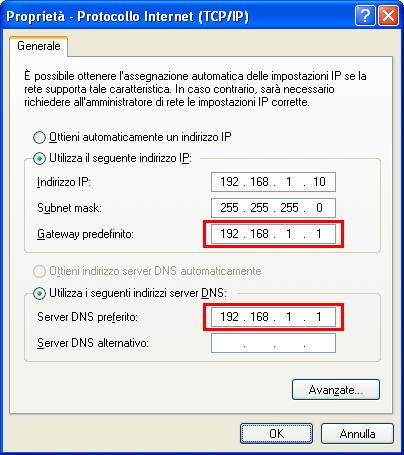 Indirizzo IP Windows XP