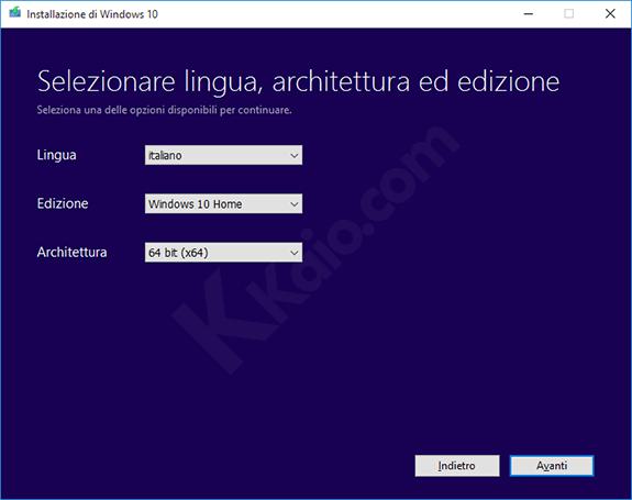 Strumento di download delle ISO di Windows 10