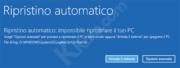Ripristino all'avvio Windows 10