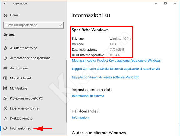 Windows 10 - Informazioni su