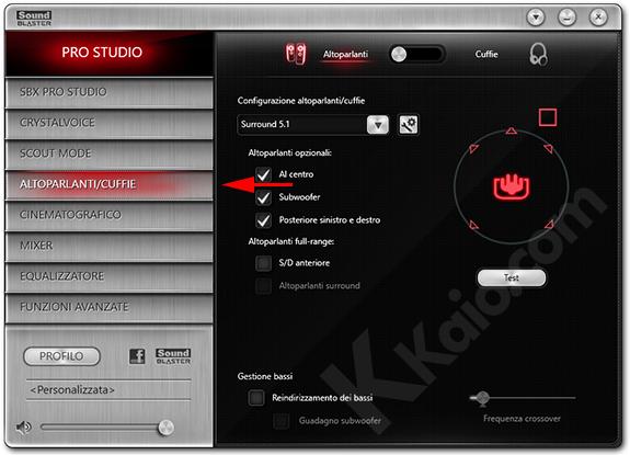 Sound Blaster Z - configurazione altoparlanti
