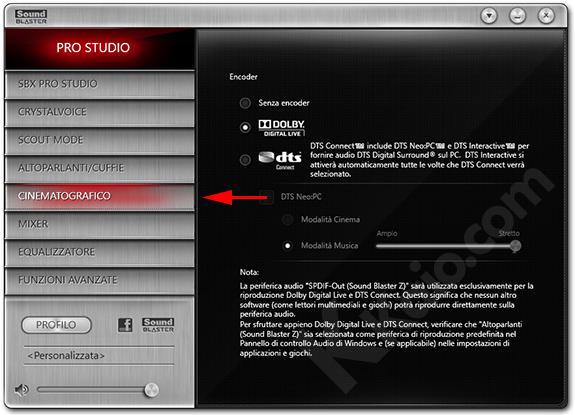 Sound Blaster Z - configurazione encoder
