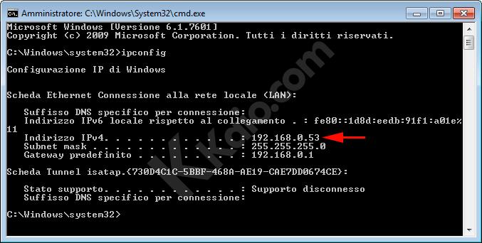 Indirizzo IP Rete LAN