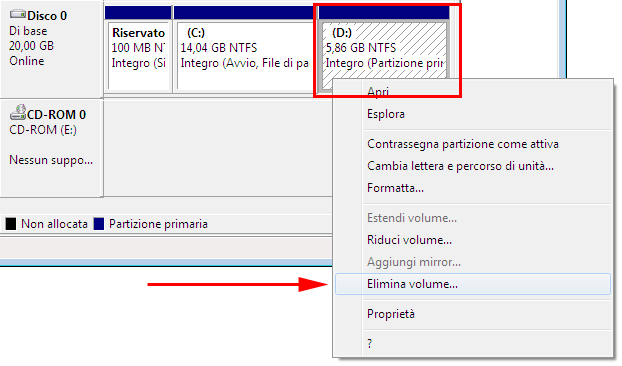 Unire partizioni Windows 7 - Windows Vista