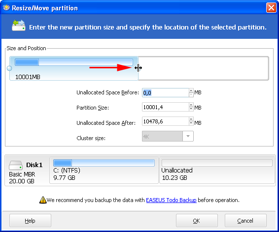EASEUS Partition Master - Unire partizioni in Windows XP