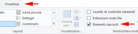 Visualizza ccartelle e file nascosti Windows 10