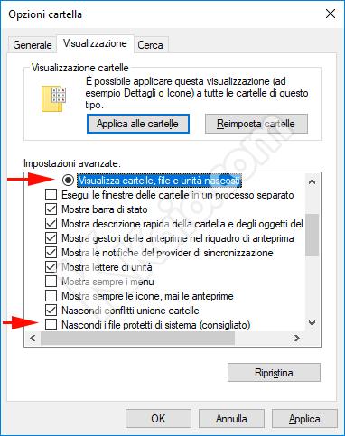 Visualizza cartelle e file nascosti Windows 10