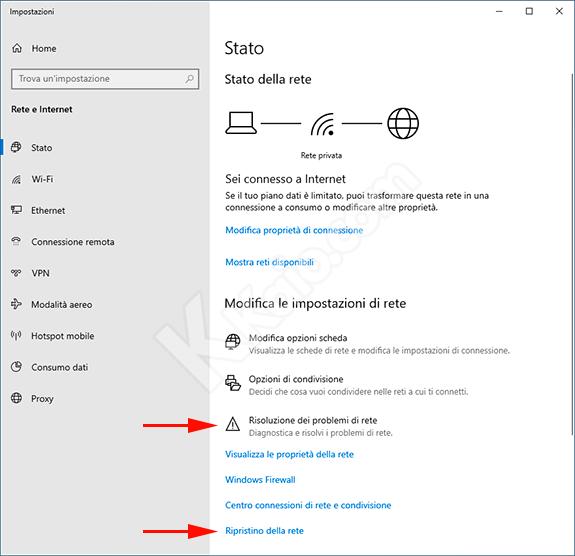Windows 10 Impostazioni Rete