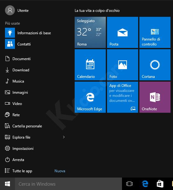Windows 10 - Inserire collegamenti nel Menu Start
