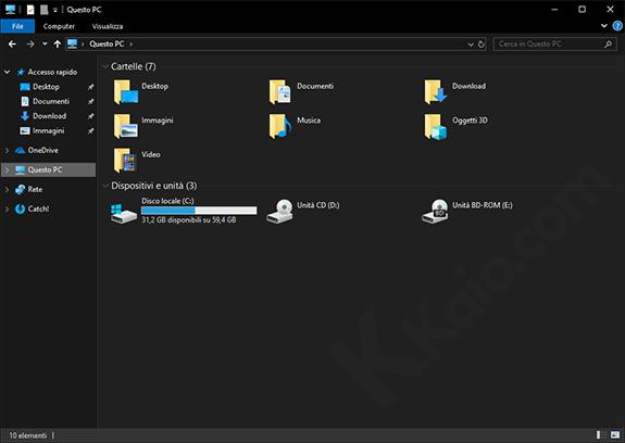 Esplora risorse - tema scuro di Windows 10