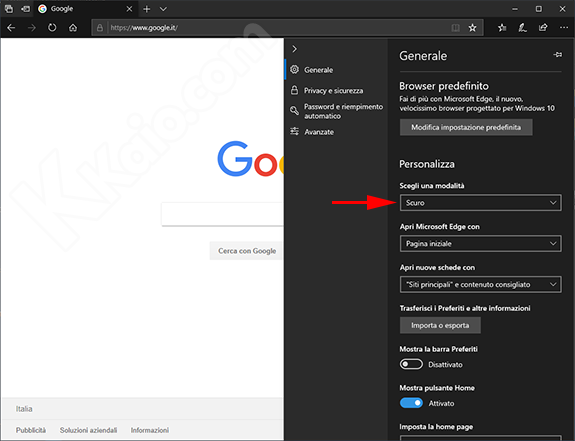 Impostare il tema scuro nel browser Edge in Windows 10