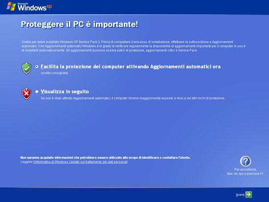 Windows XP Service Pack 3 Impostazioni sicurezza